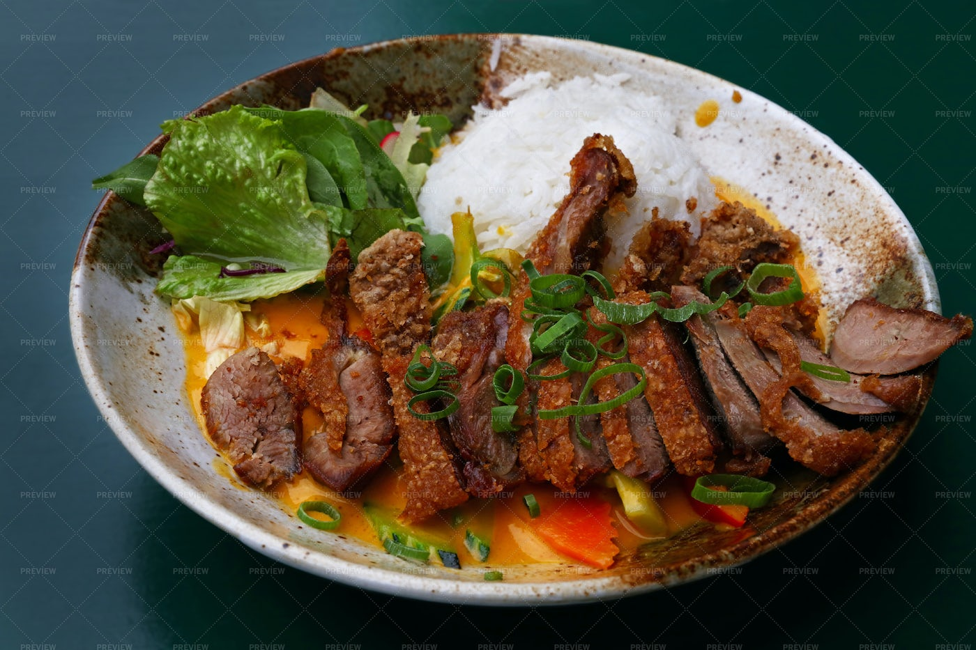 Duck Curry With Rice: Stock Photos