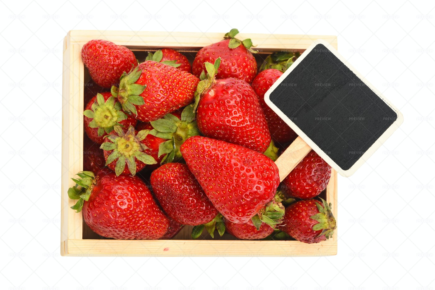 Strawberry In Wooden Box: Stock Photos
