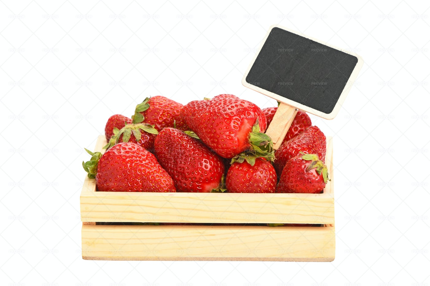 Strawberries In A Wooden Box: Stock Photos