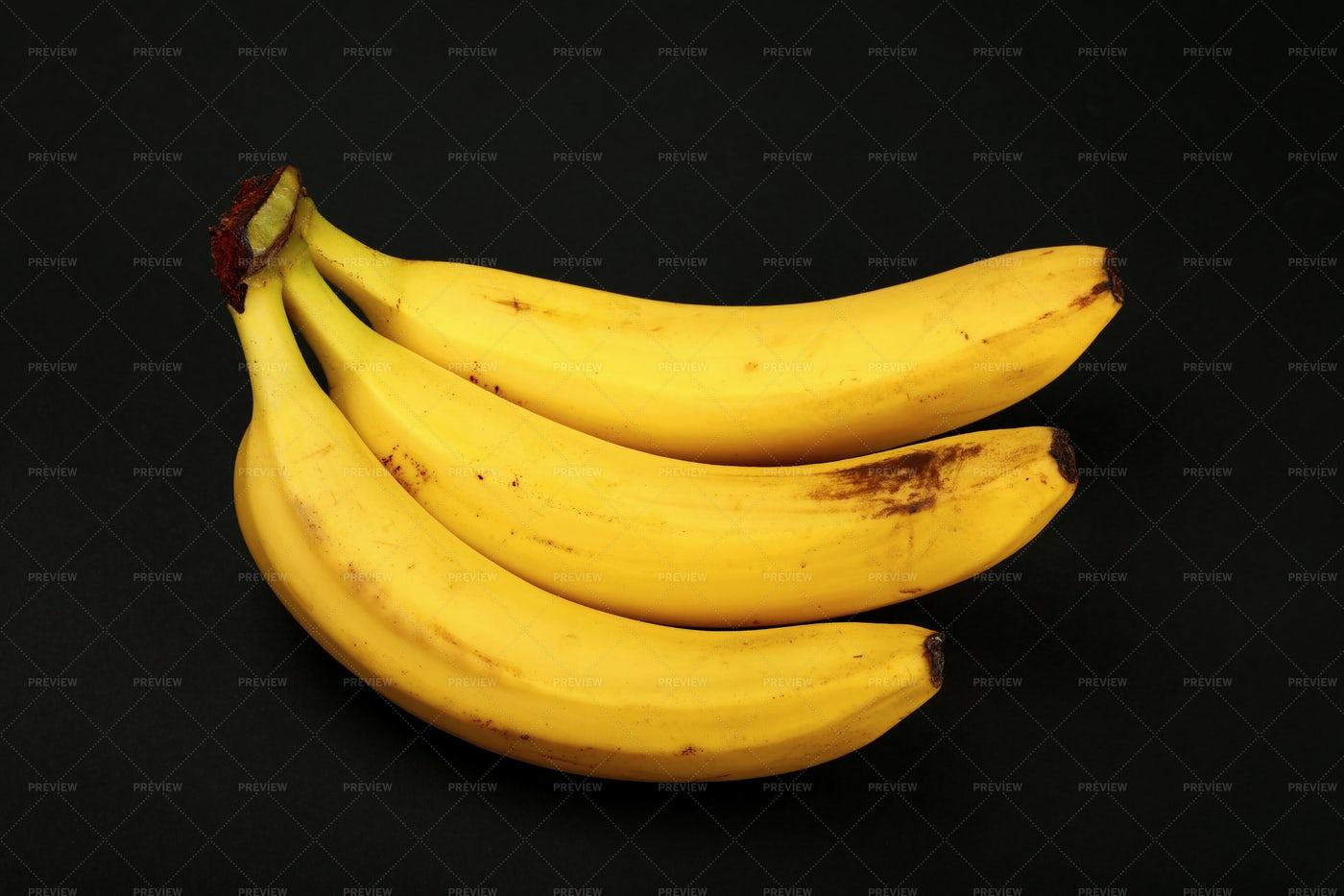 Bunch Of Bananas On Black: Stock Photos