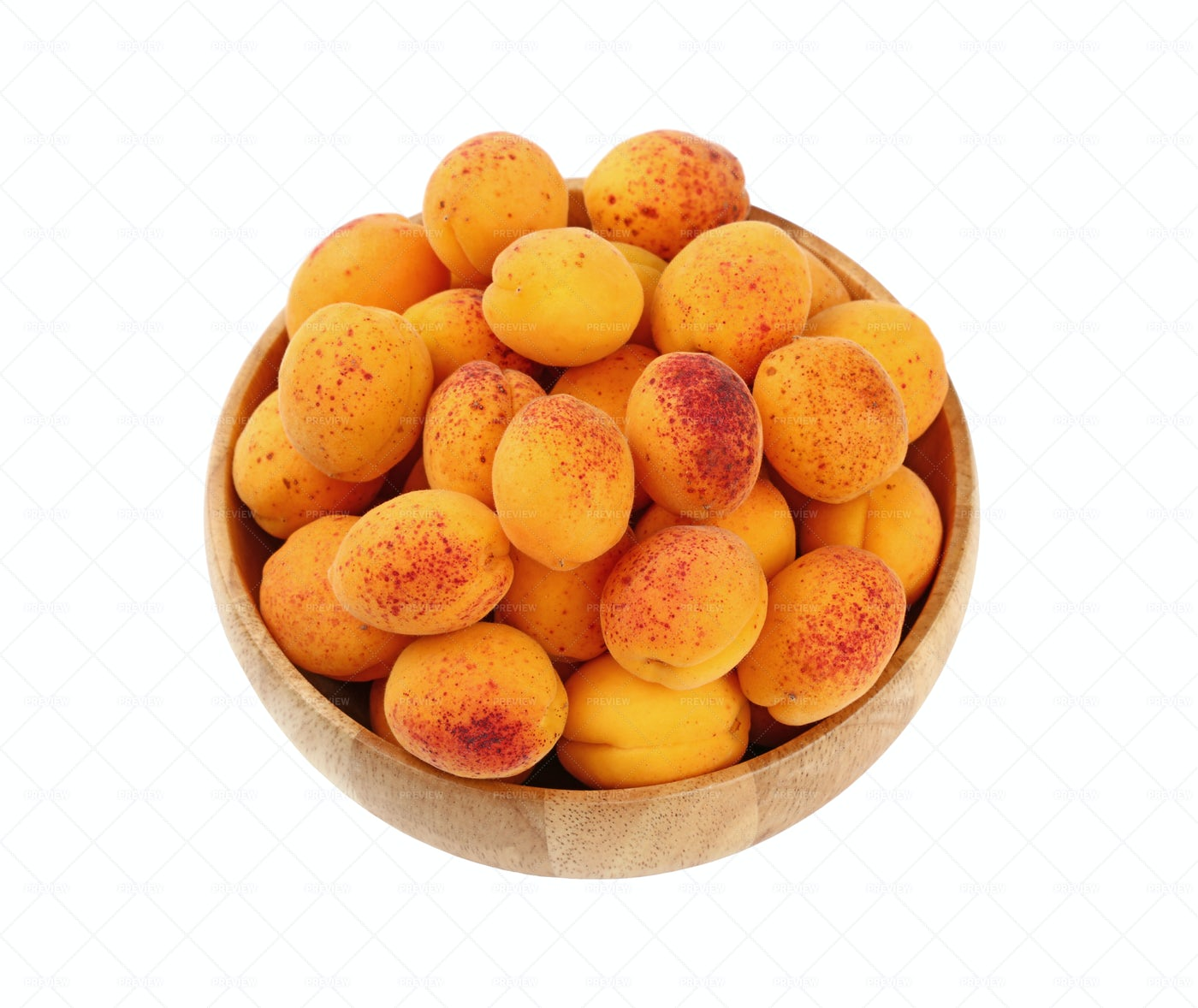 Apricots In A Wooden Bowl: Stock Photos