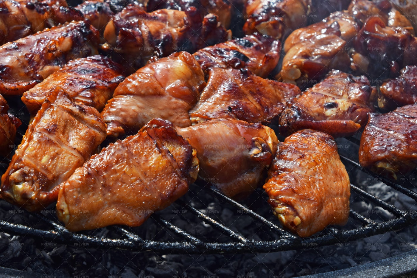 Grilling Buffalo Chicken Wings: Stock Photos
