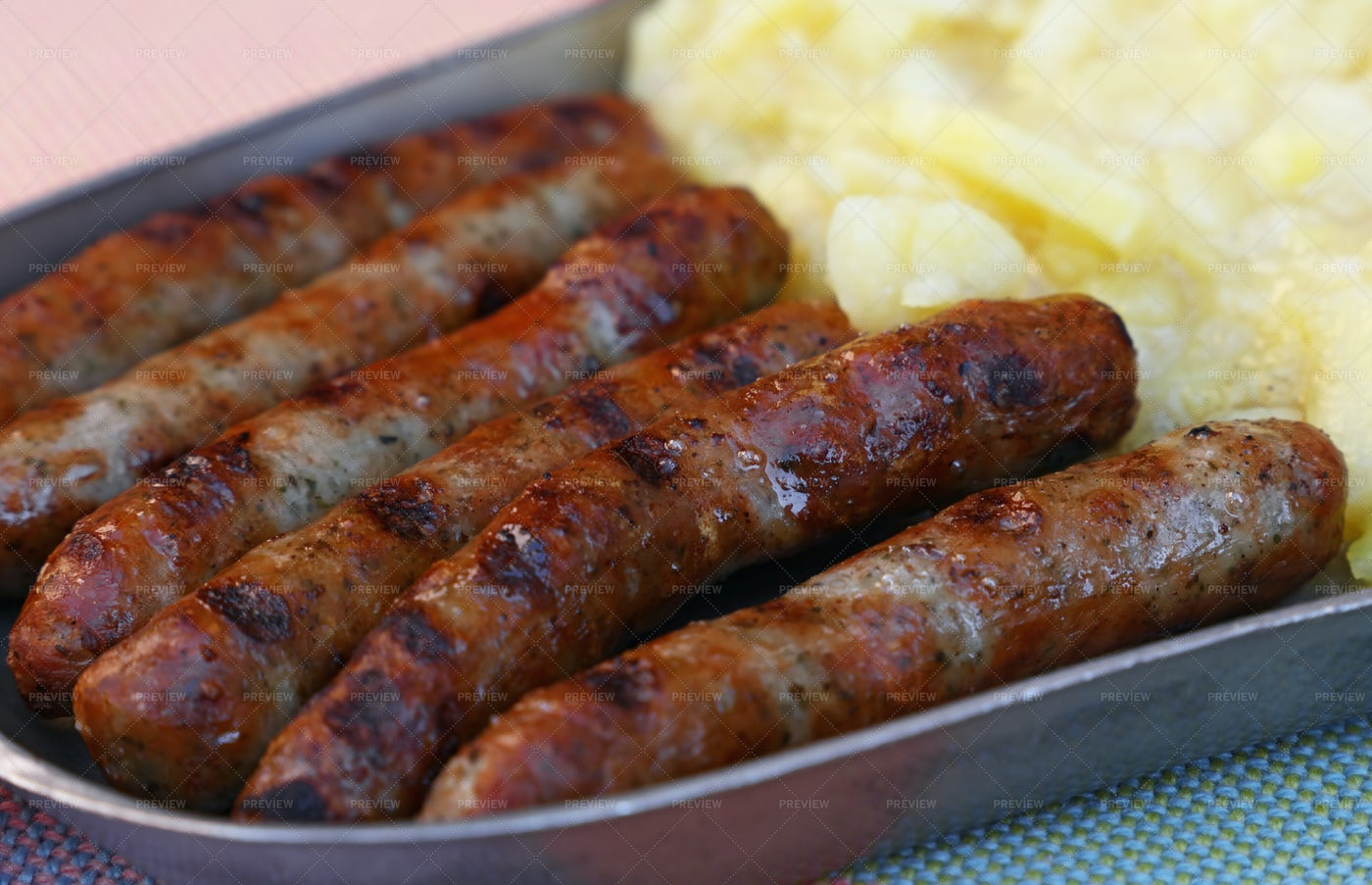 Grilled Nuremberg Sausages: Stock Photos