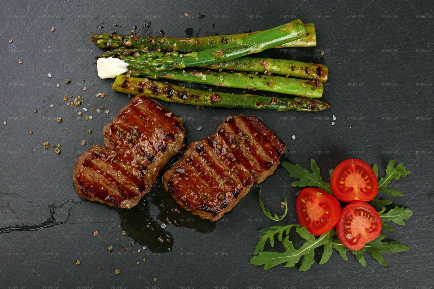Two Grilled Beefsteaks: Stock Photos