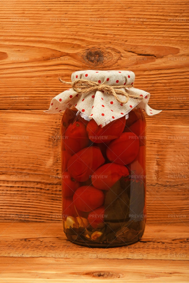 Jar Of Pickled Tomatoes: Stock Photos