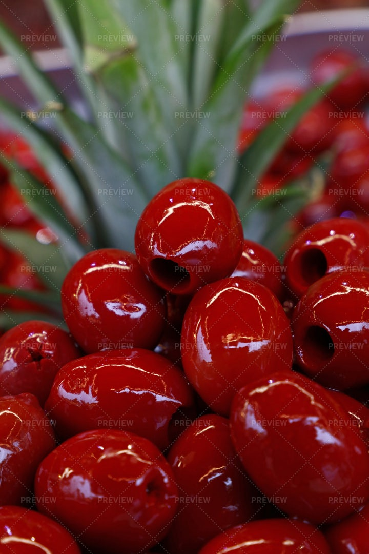 Red Pitted Cerignola Olives: Stock Photos