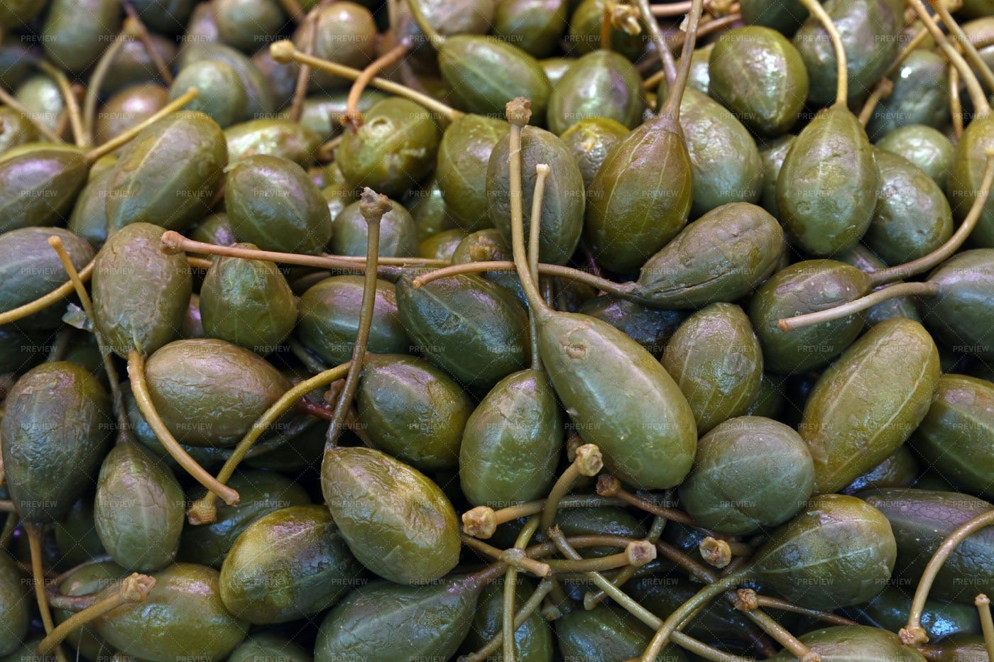 Green Pickled Big Capers: Stock Photos