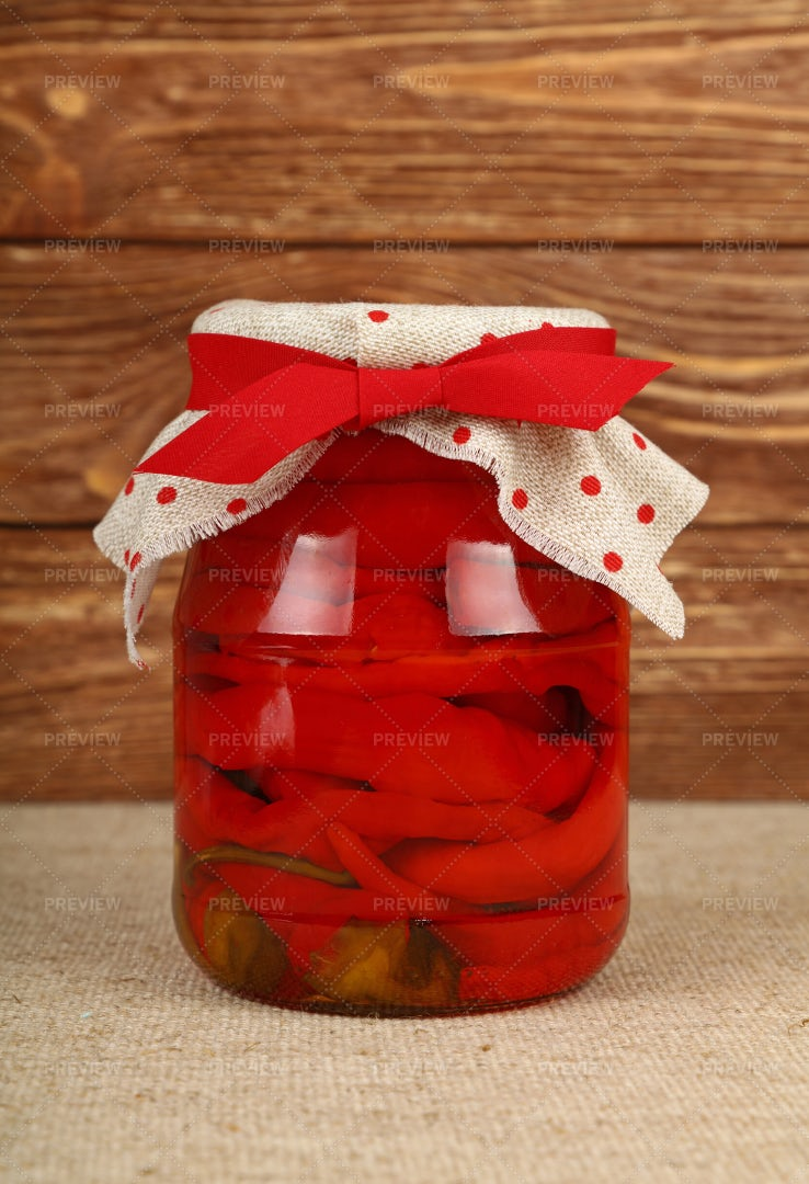 Jar Of Pickled Peppers: Stock Photos