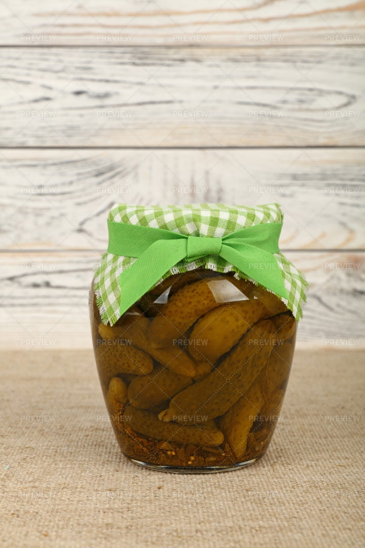 Jar Of Pickled Cucumbers: Stock Photos