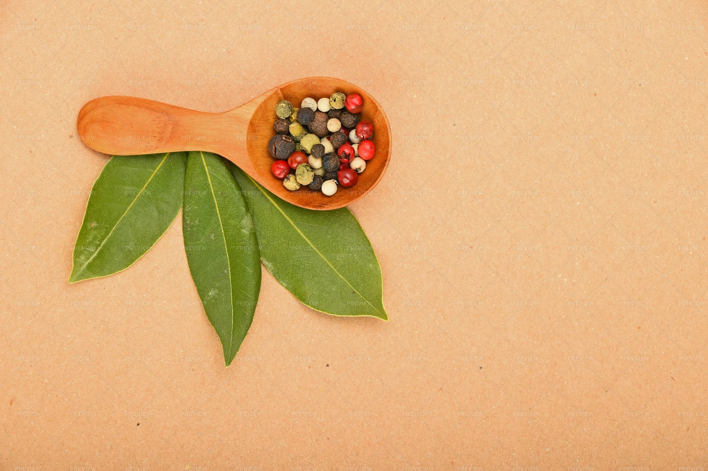 Bay Leaves And Peppercorns: Stock Photos