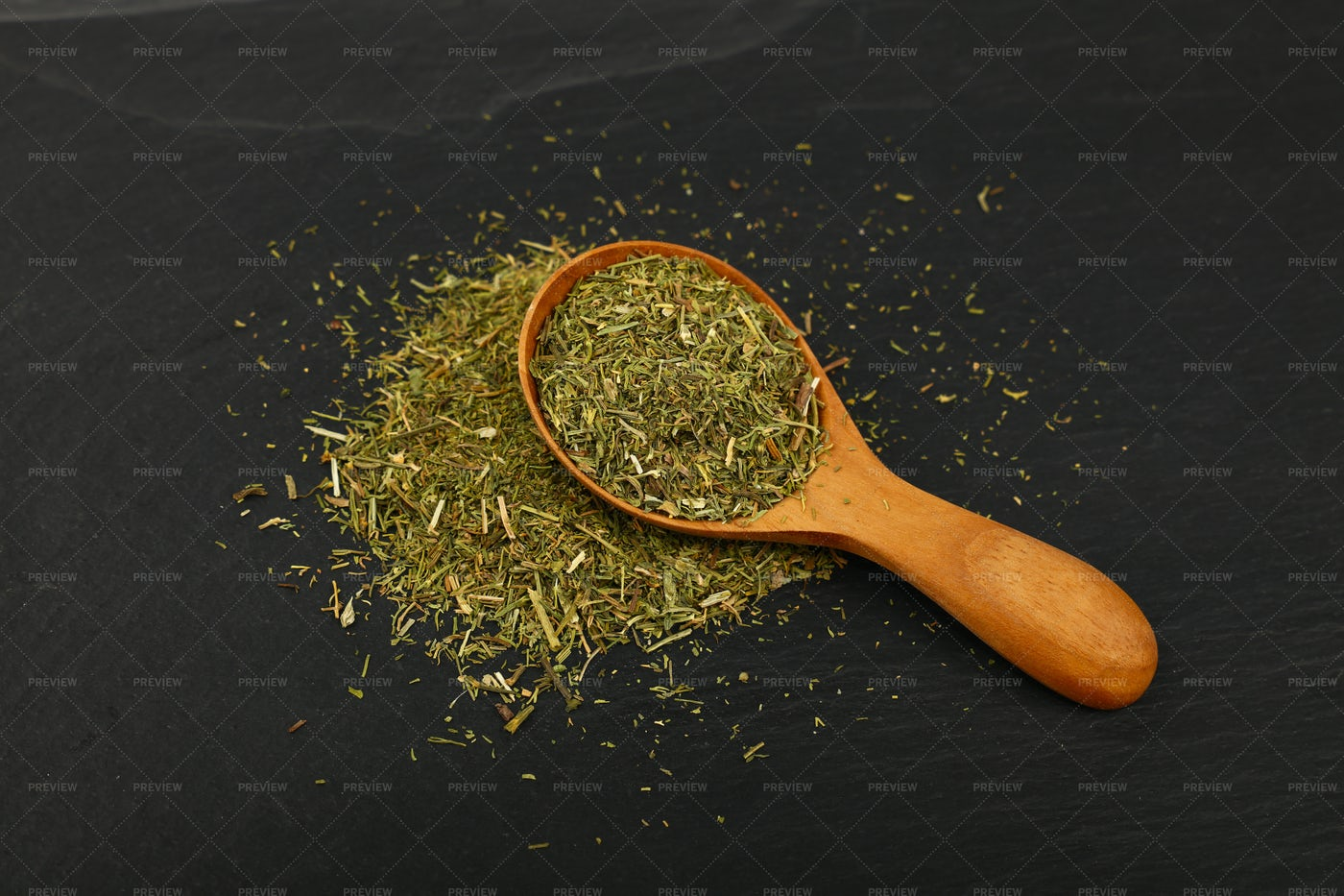 Wooden Spoon With Herbs: Stock Photos