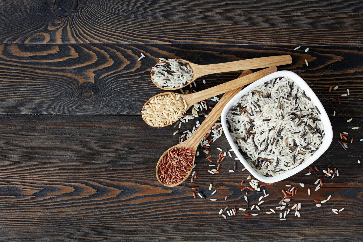 Rice Assortment Background: Stock Photos