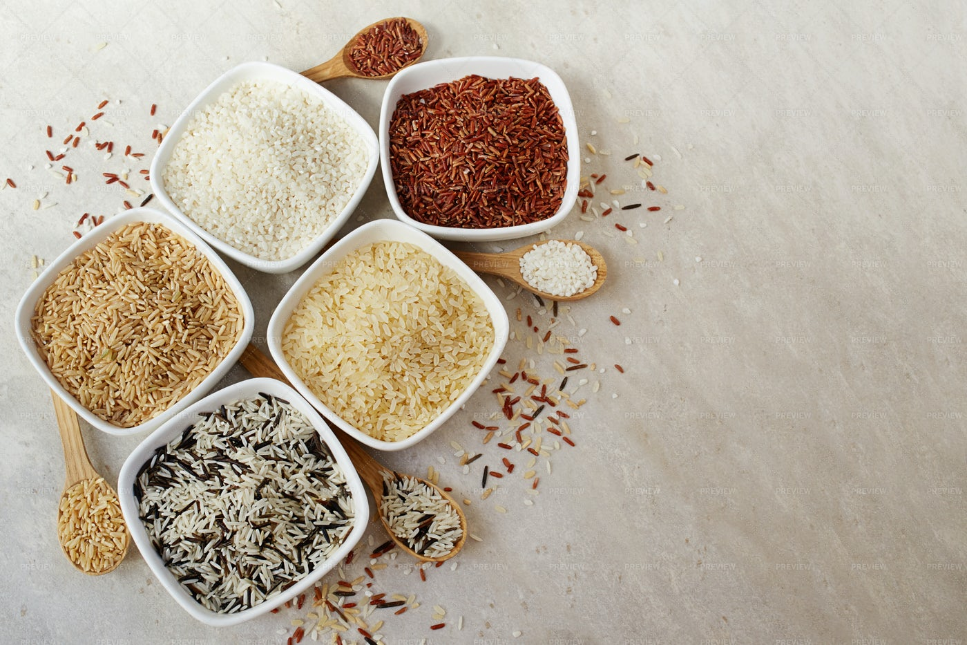 Different Types Of Rice: Stock Photos