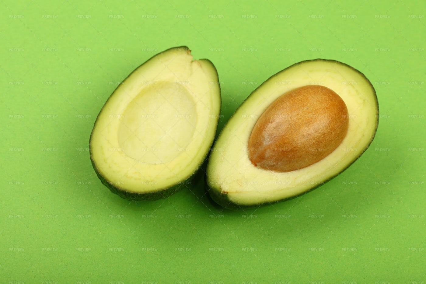 Two Halves Of Avocado: Stock Photos
