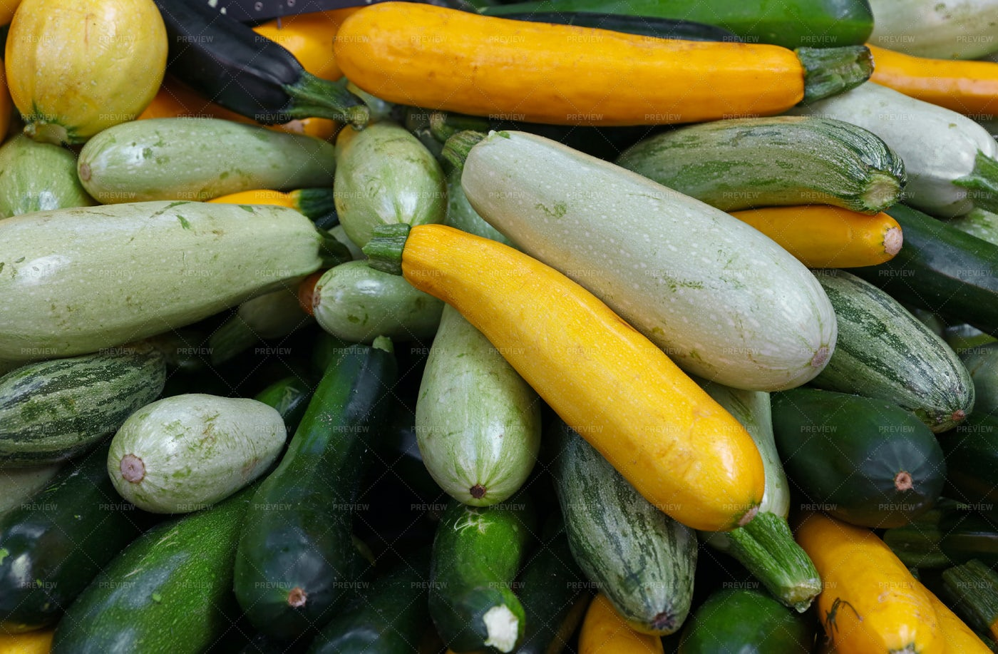 Zucchini At A Market Stall: Stock Photos