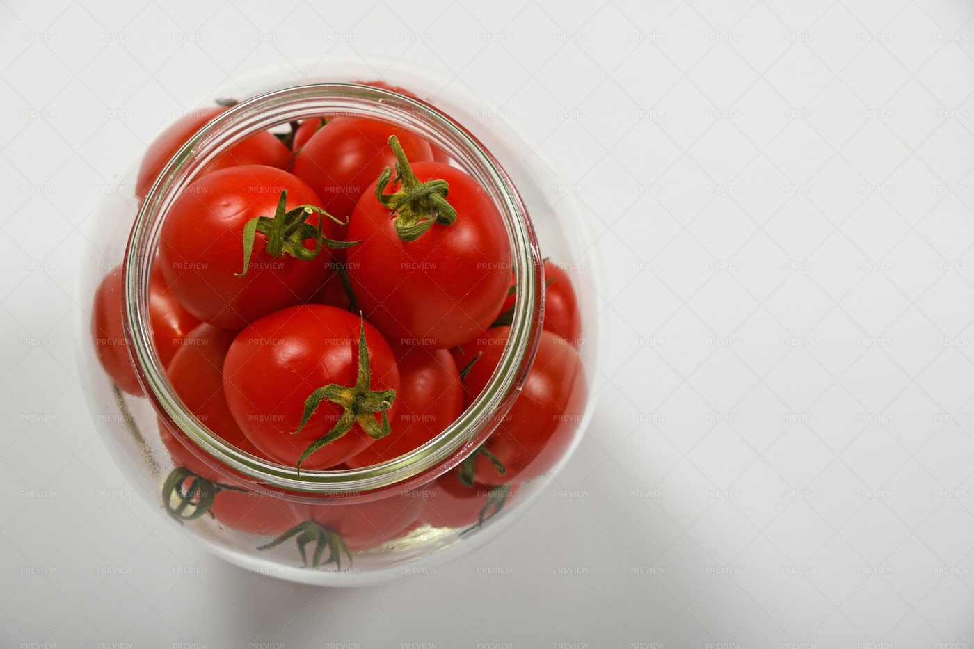 Cherry Tomatoes In A Glass Jar: Stock Photos