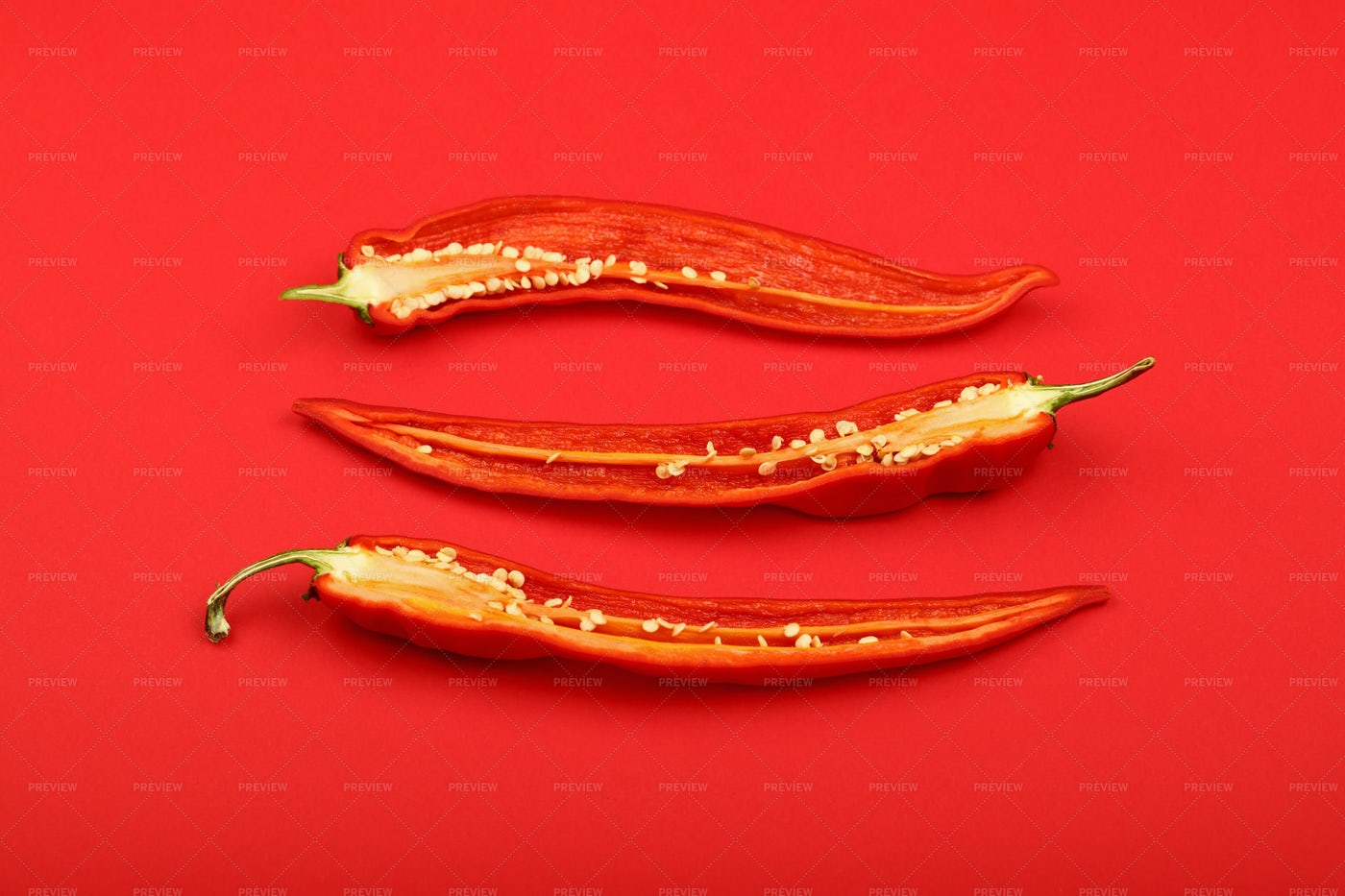 Three Red Pepper Halves: Stock Photos