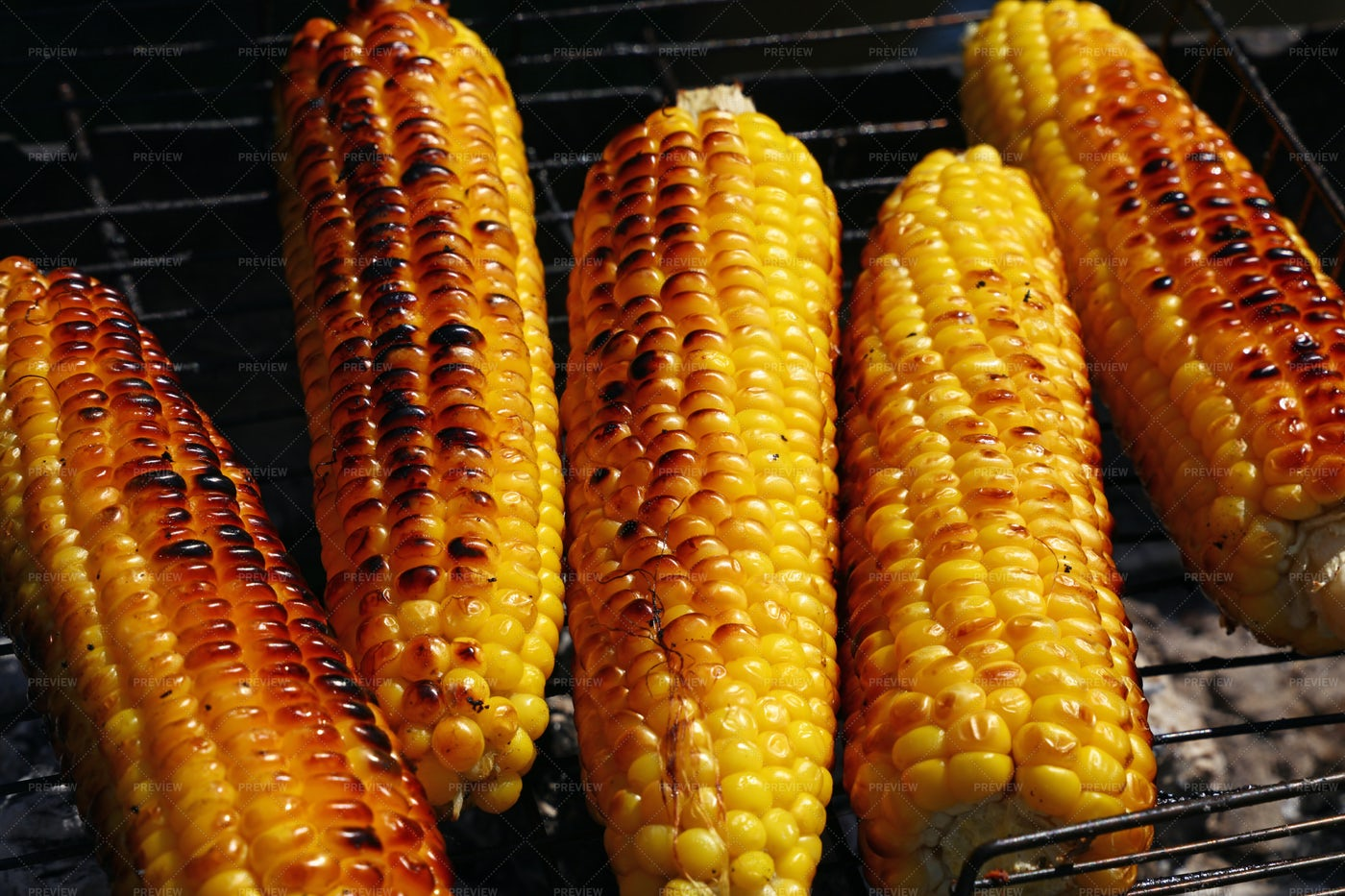 Grilling Corn Cobs: Stock Photos
