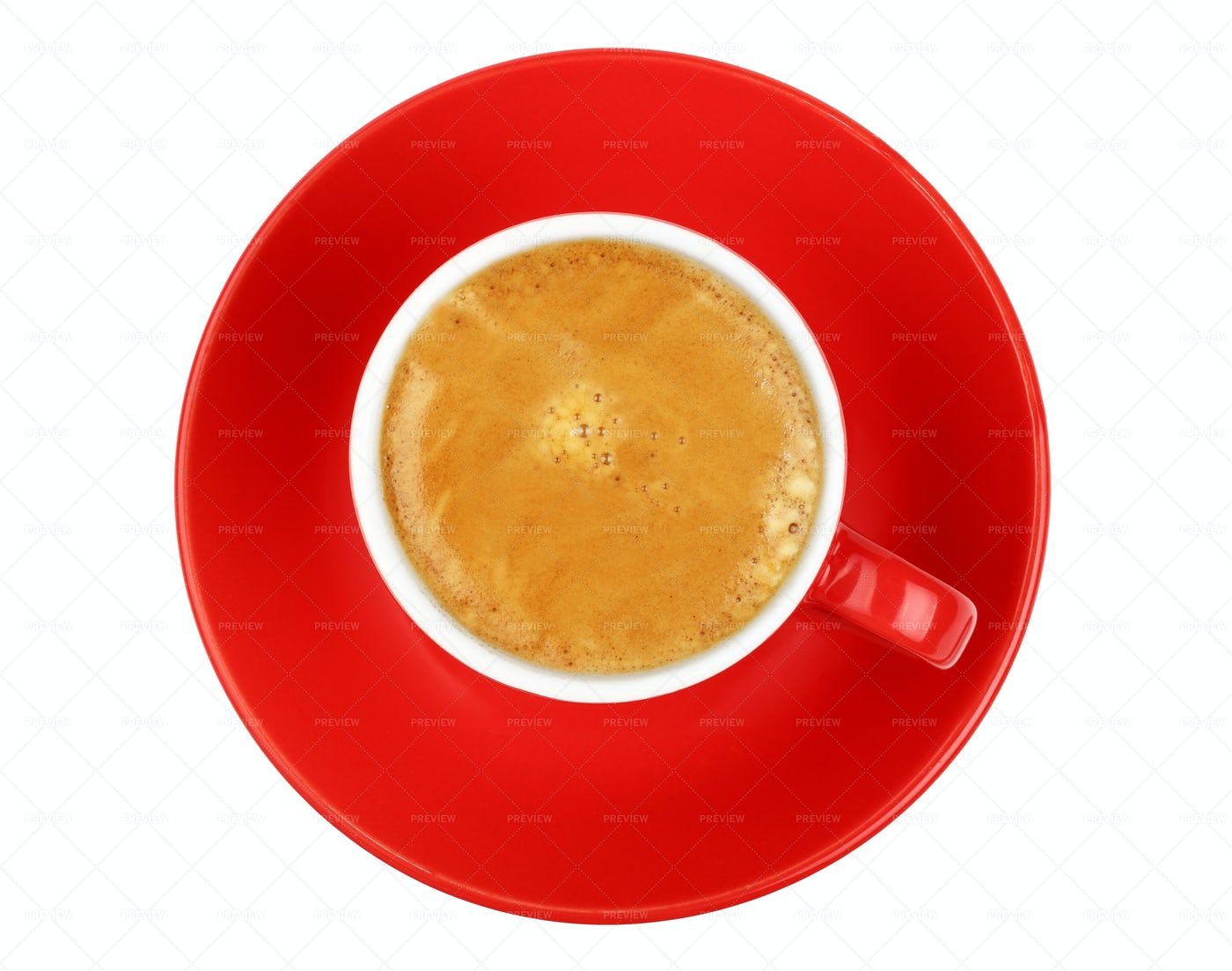 Espresso Coffee In A Red Cup: Stock Photos