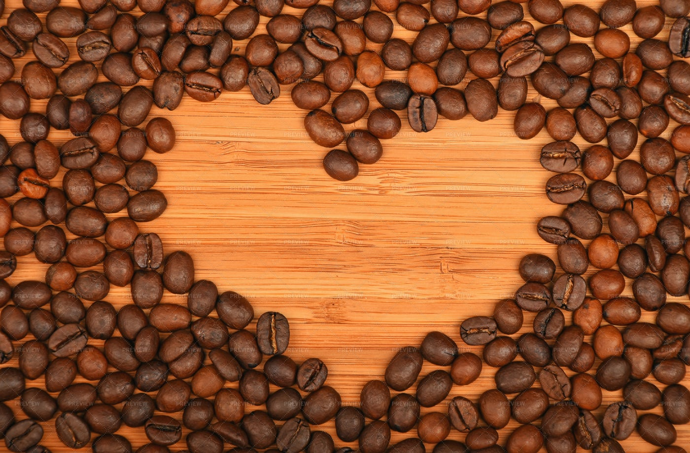 Heart Shape In Coffee Beans: Stock Photos