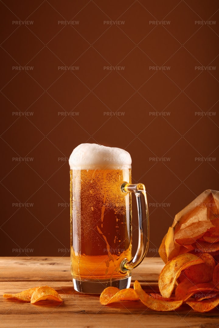 Beer And Potato Chips: Stock Photos