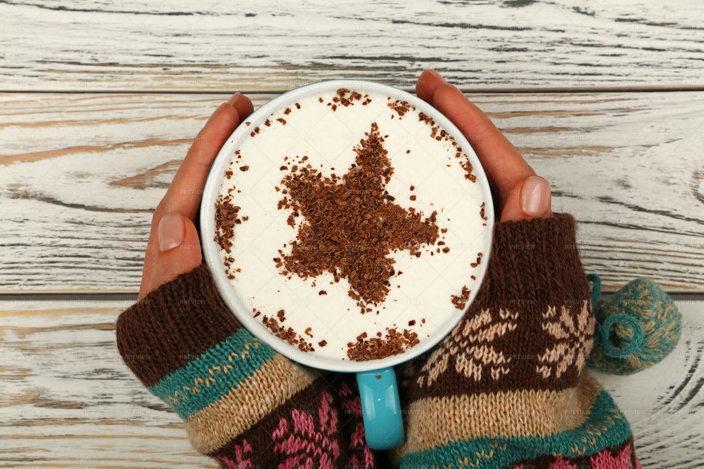 Hands Hold A Cappuccino Cup: Stock Photos