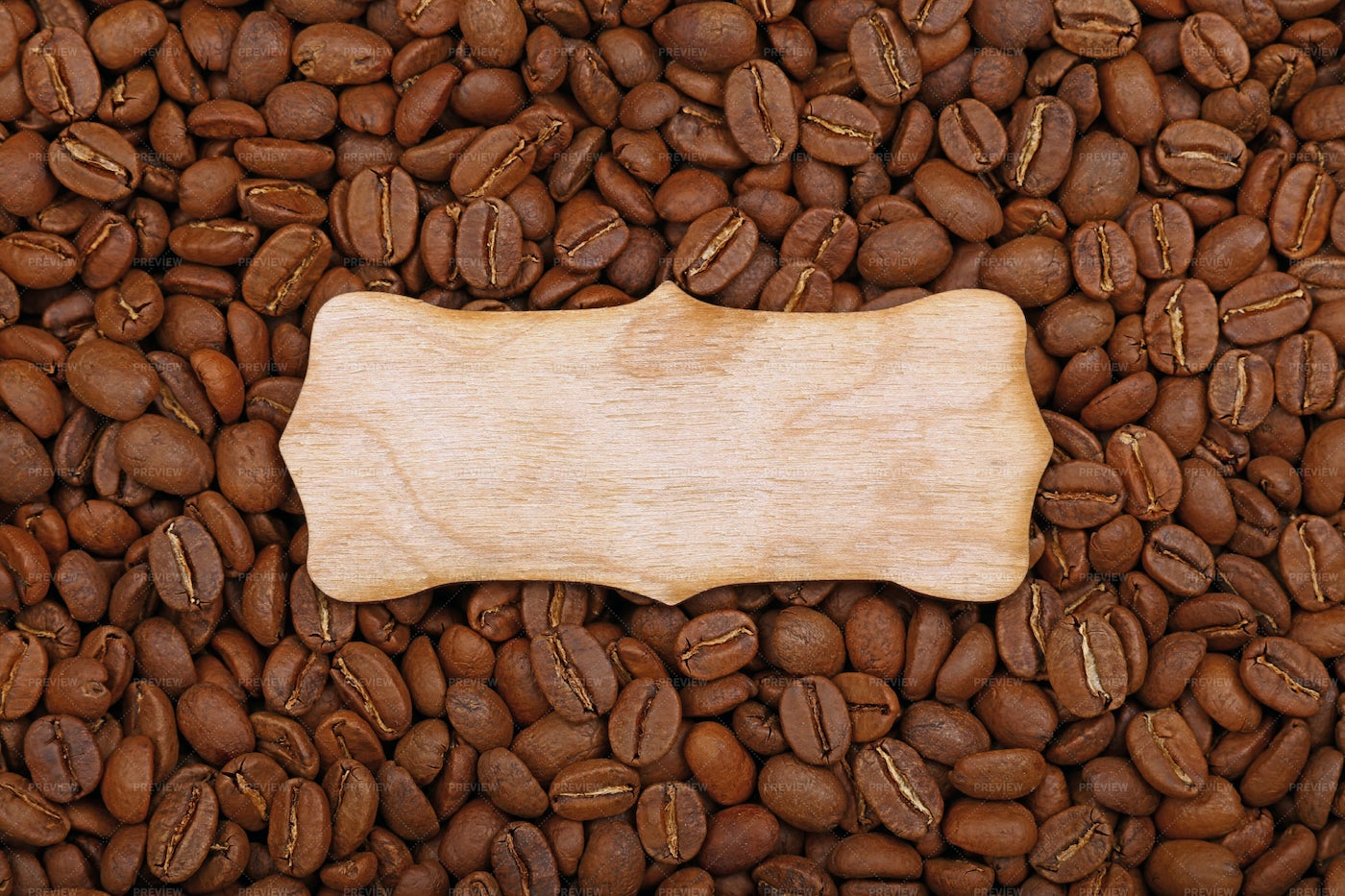 Wooden Sign Over Coffee Beans: Stock Photos