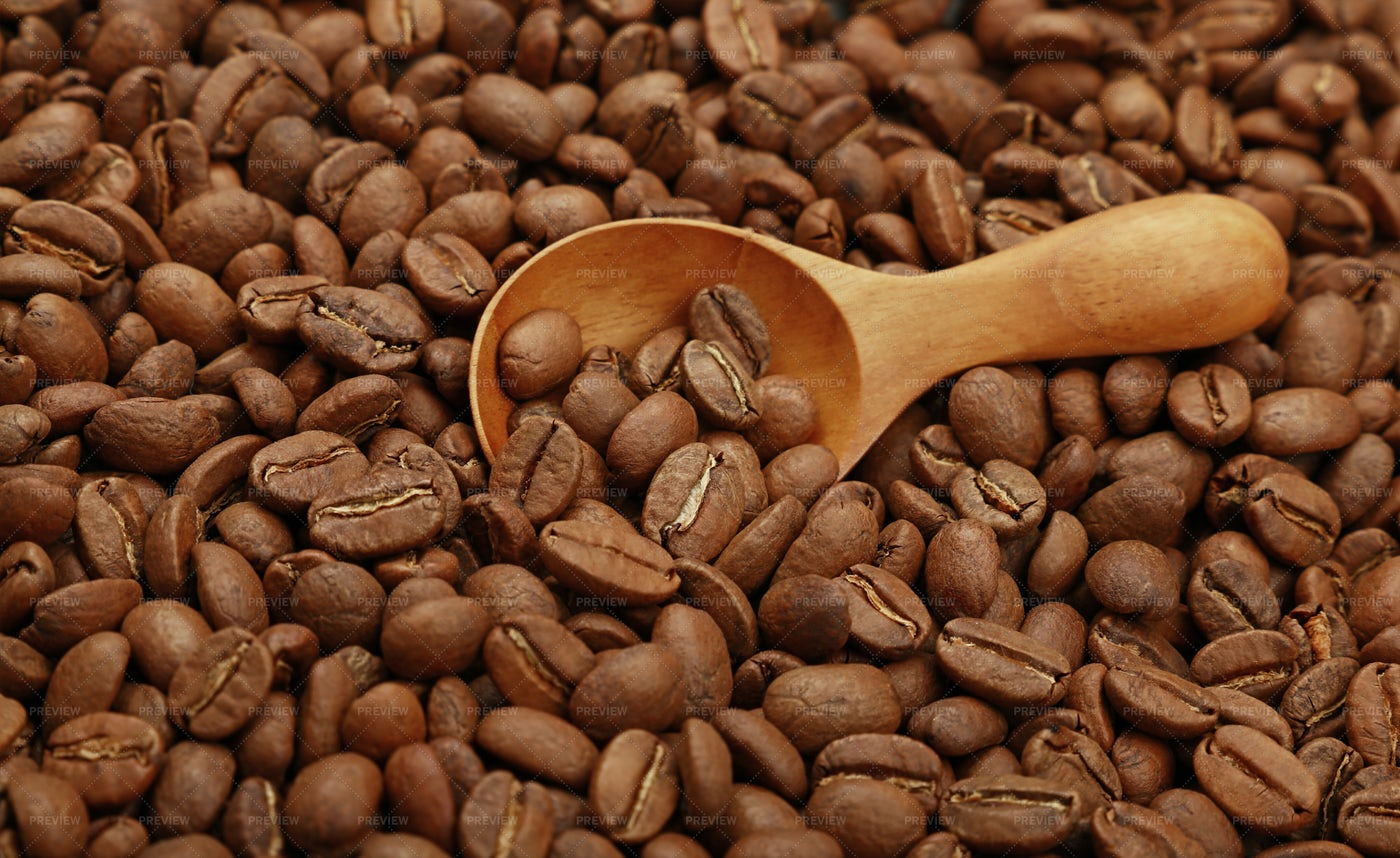 Roasted Coffee Beans And Scoop: Stock Photos