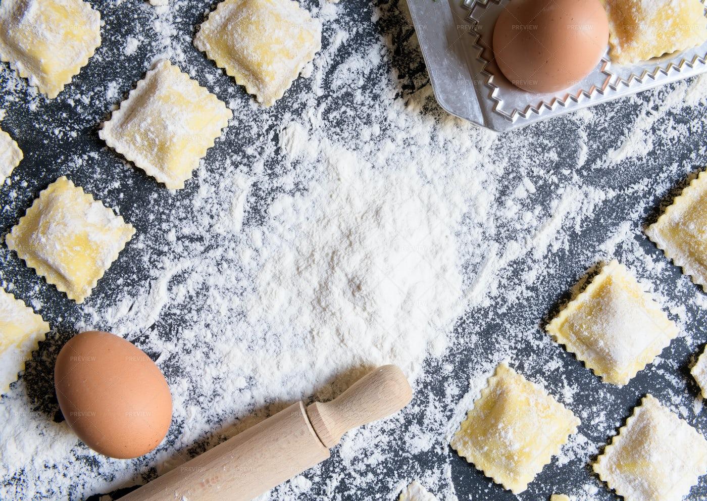 Homemade Italian Ravioli Background: Stock Photos