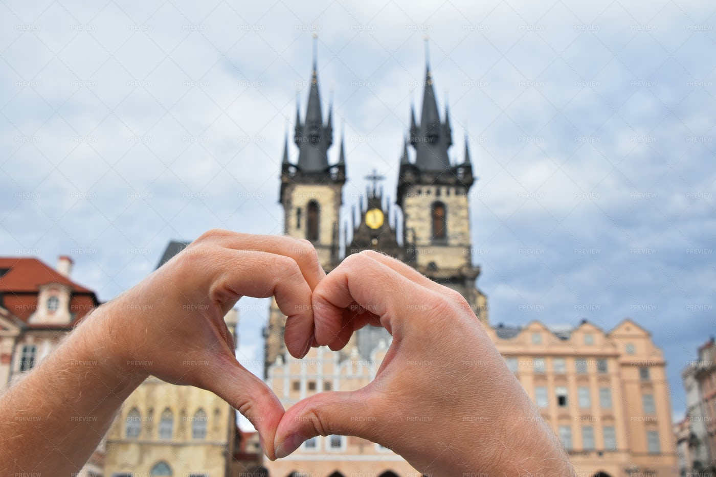 Hands Show Heart Over Prague: Stock Photos