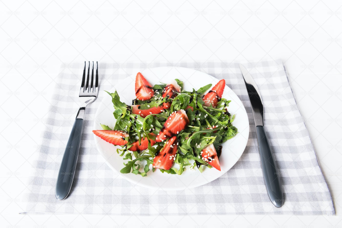 Arugula And Strawberry Dish: Stock Photos