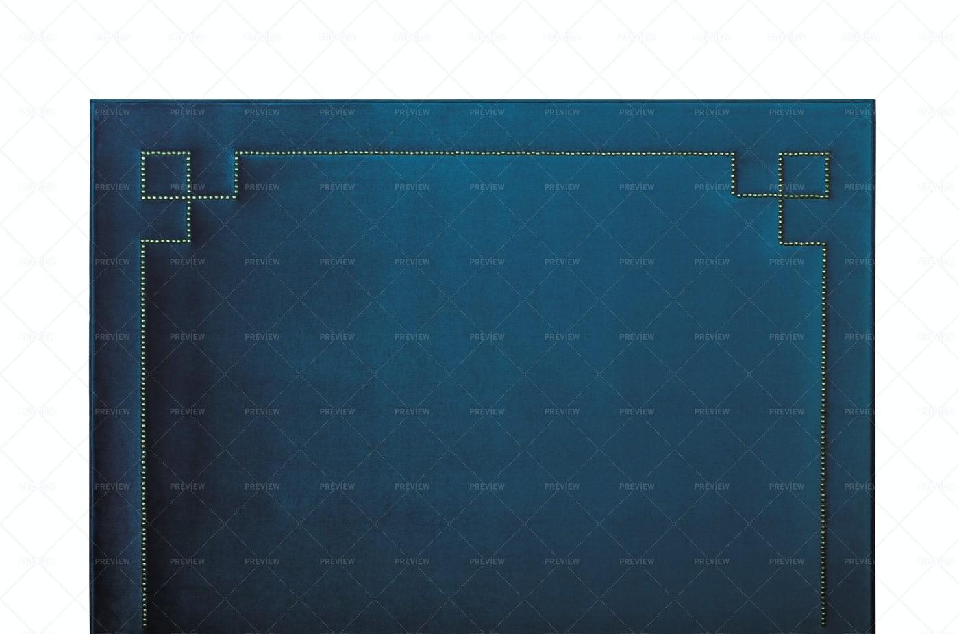 Blue Velvet Headboard Isolated: Stock Photos