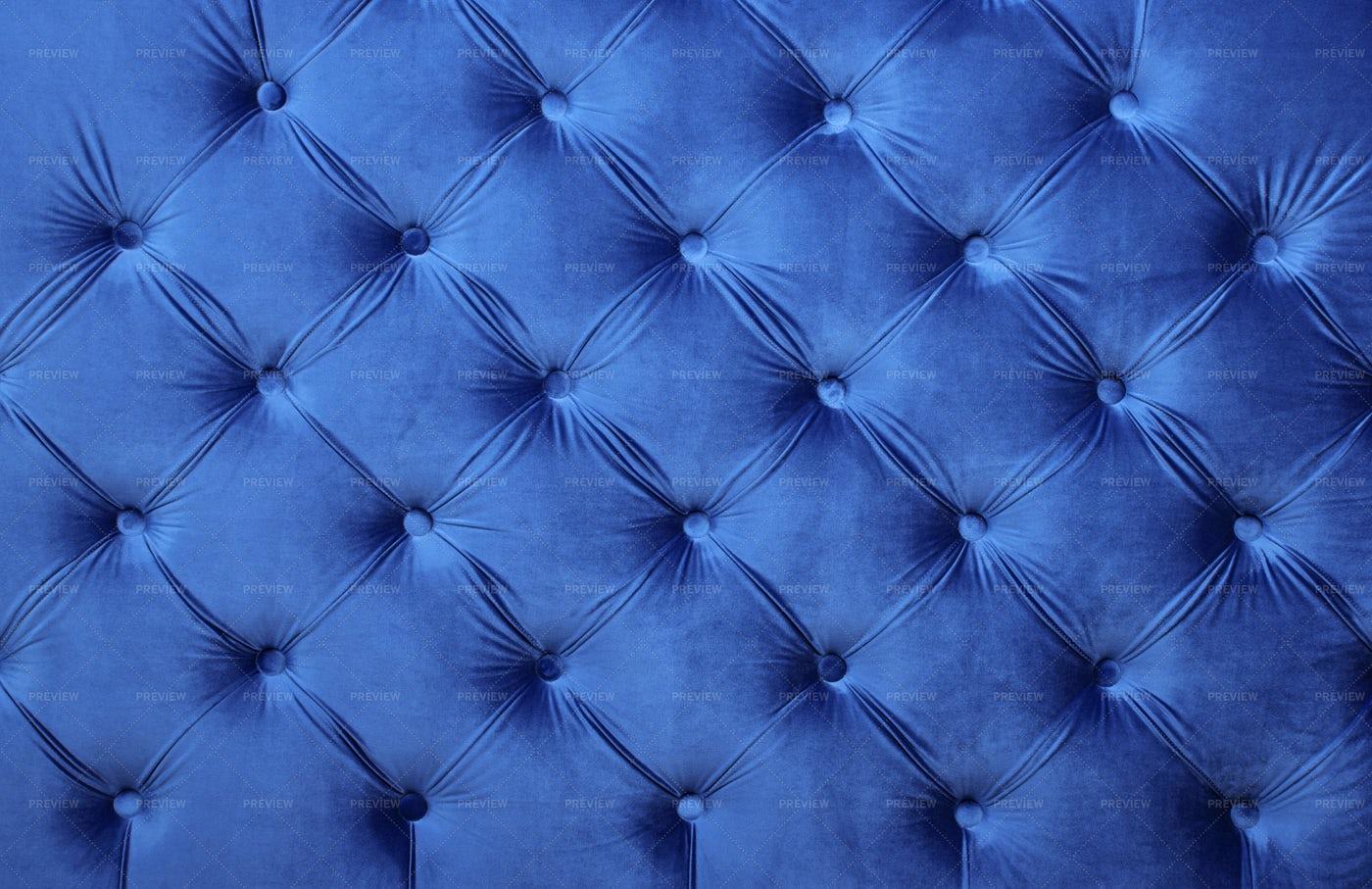 Blue Velvet Capitone Upholstery: Stock Photos