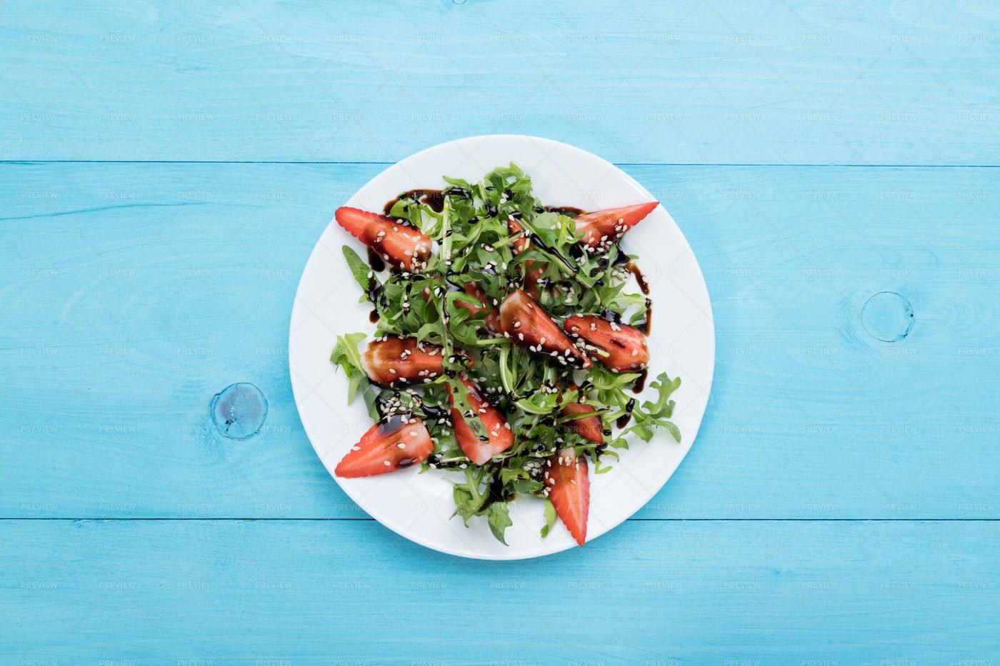 Arugula Strawberry Salad With Copy Space: Stock Photos