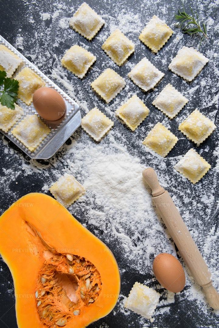 Making Pumpkin Ravioli: Stock Photos