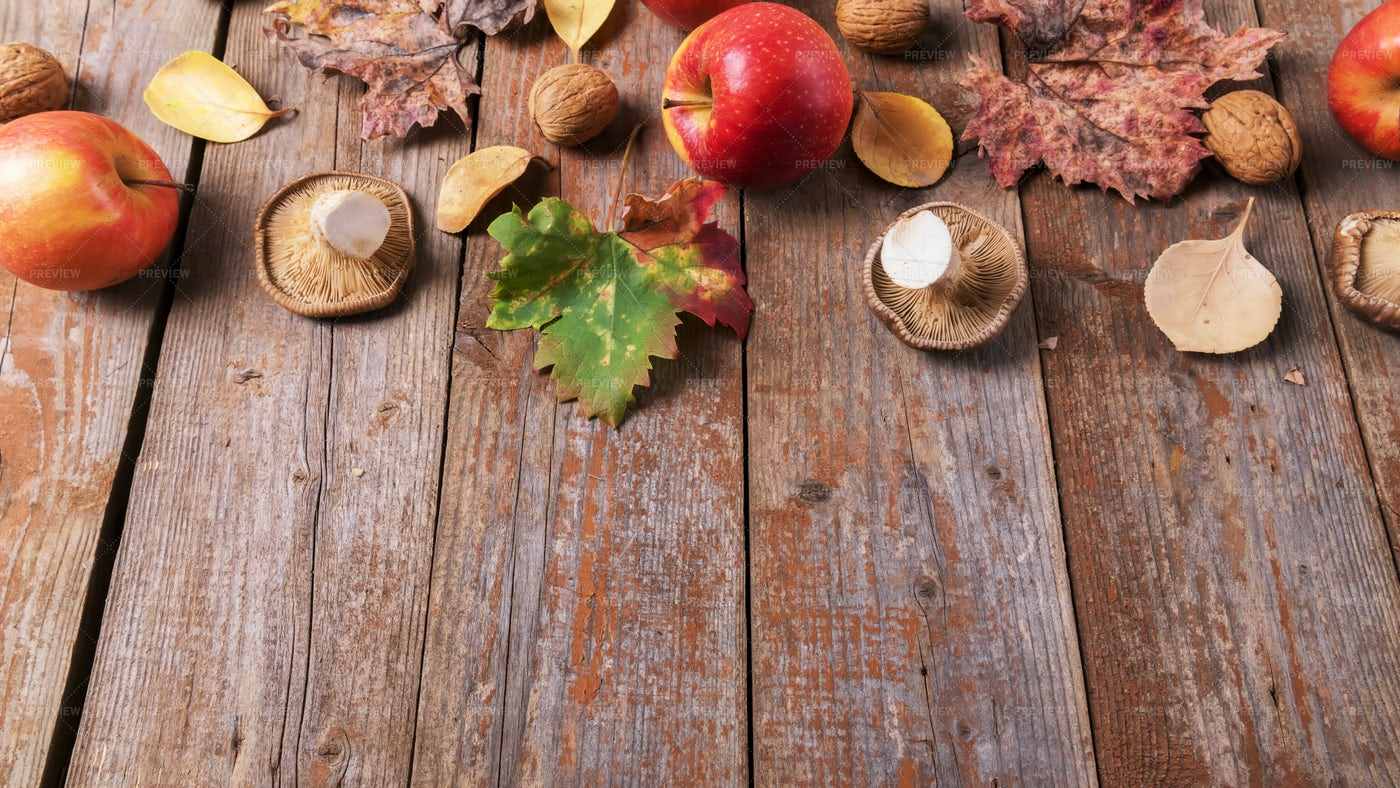 Fall Mushrooms, Apples And Walnuts: Stock Photos