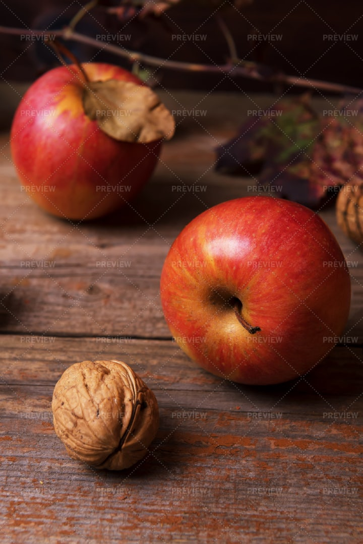 Apples And Walnut: Stock Photos