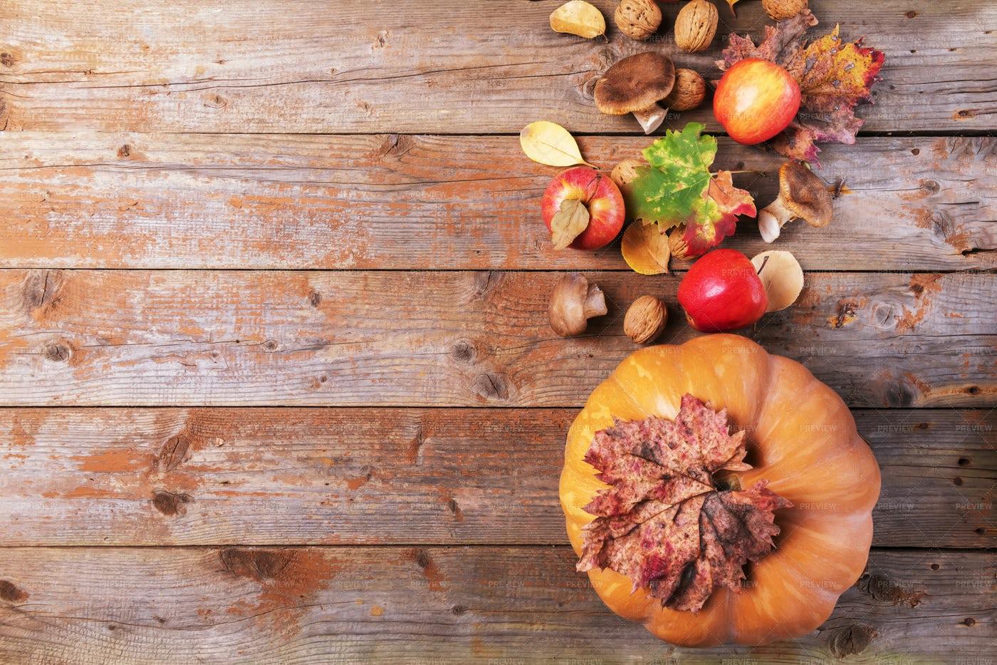 Pumpkin With Cardoncelli Mushrooms: Stock Photos