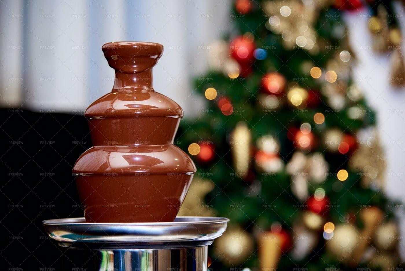 Christmas Chocolate Fountain.: Stock Photos