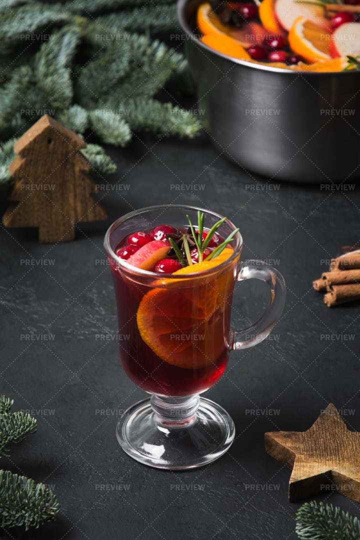 Mulled Wine In Glass: Stock Photos