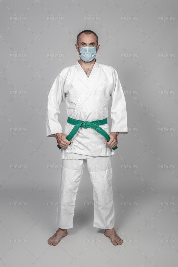 Masked Karate Instructor: Stock Photos