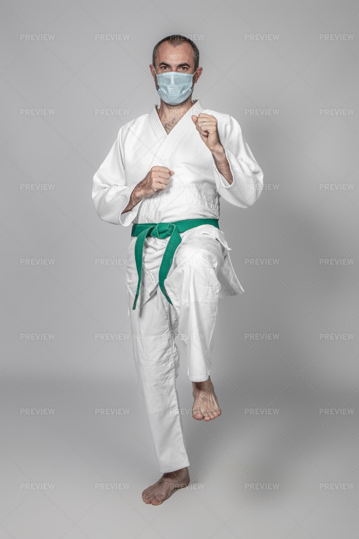 Masked Martial Arts Practitioner: Stock Photos