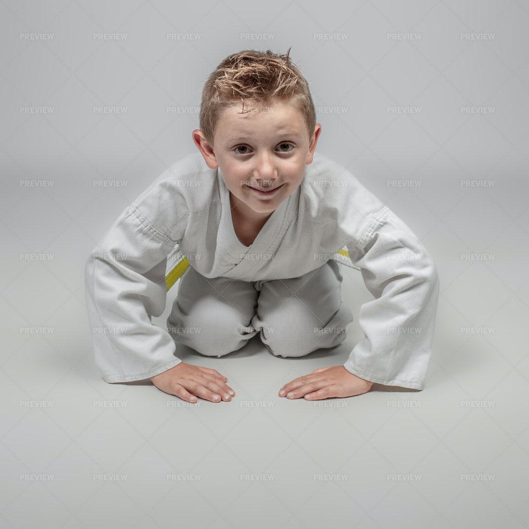 Sports Kid With Kimono: Stock Photos