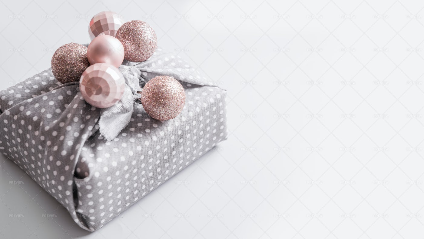 Gift Wrapped With Baubles: Stock Photos