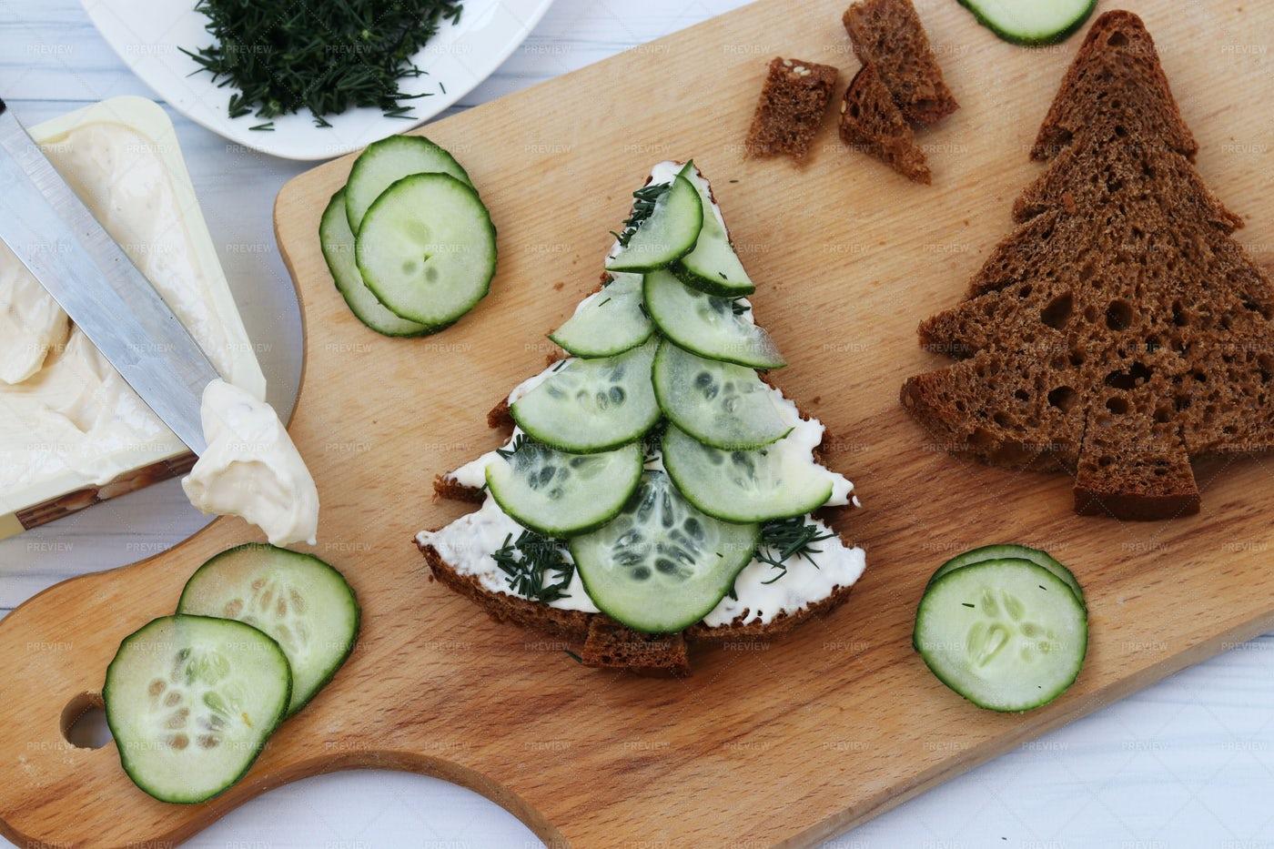 Christmas Tree Sandwiches: Stock Photos