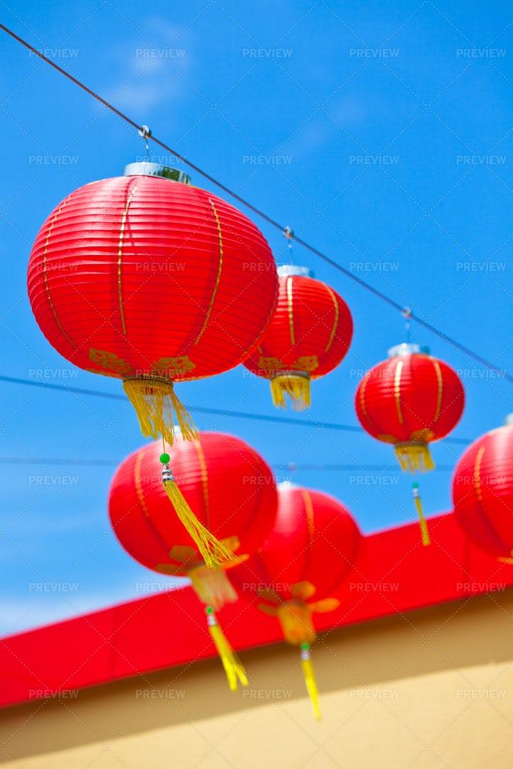 Red Chinese Paper Lanterns: Stock Photos