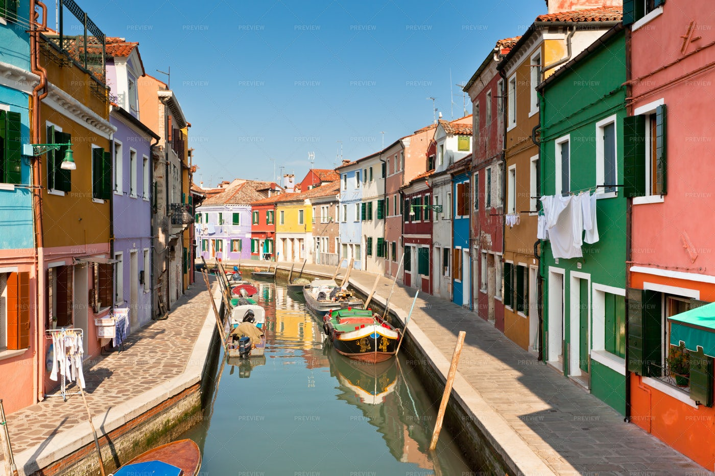 Colored Houses Of Burano Italy: Stock Photos