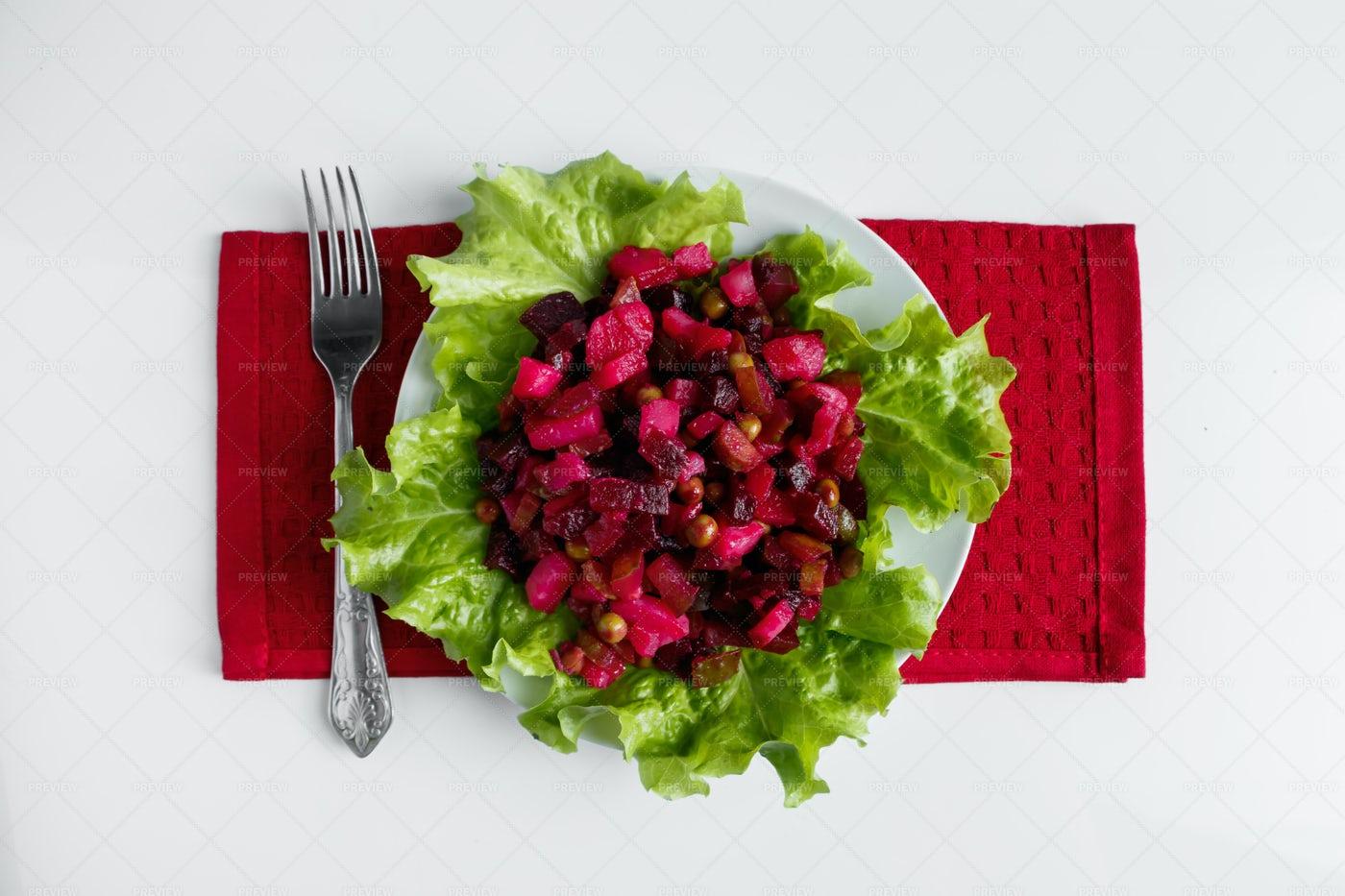 Vinaigrette On Lettuce Leaves: Stock Photos