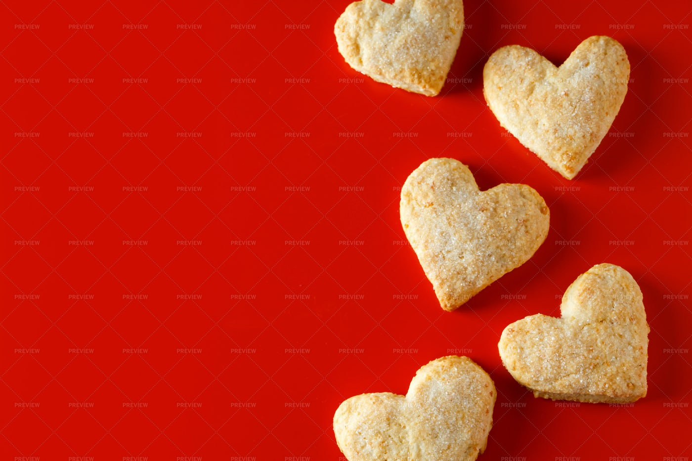 Heart-Shaped Sugar Cookies: Stock Photos