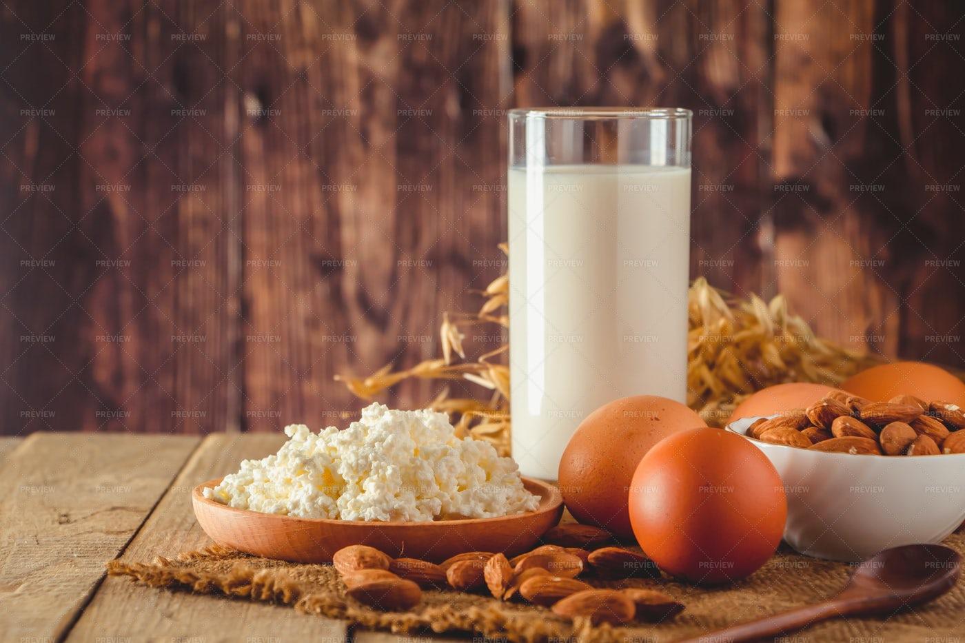 Milk, Eggs And Cheese: Stock Photos